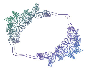 Beautiful floral label with gradient fill.  Raster clip art.