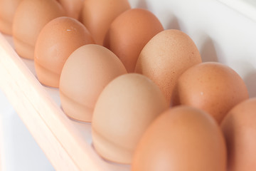 Eggs fresh on a shelf in the refrigerator keep eating.