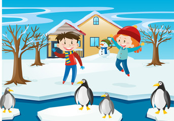Winter scene with kids and penguin