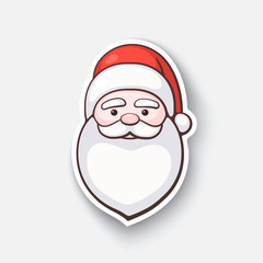 Vector illustration. The head of Santa Claus. Spirit of Christmas. Cartoon funny sticker in comic style with contour. Decoration for greeting cards, posters, patches and prints for clothes, emblems