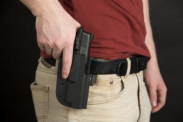 Armed man with semi-automatic in home invasion scenario