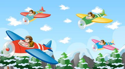 People flying plane over mountain