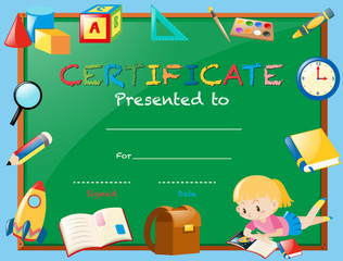 Certificate template with girl reading book