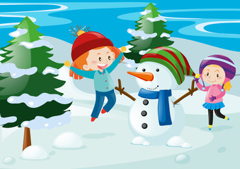 Scene with kids and snowman