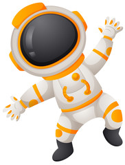 Spaceman in spacesuit flying
