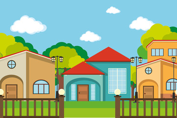 Neighborhood scene with many houses