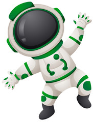 Astronaunt in green and white spacesuit