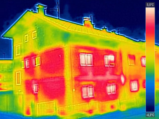 Infrared thermovision image showing lack of thermal insulation o