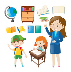 Set of school objects and people at school
