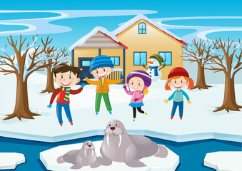 Scene with kids and walrus in winter