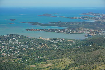 Aerial view, Boulary bay, islands and peninsula of Tina, Noumea, southwest coast of Grande Terre, New Caledonia, south Pacific ocean