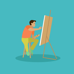Painter is working on his easel picture. Vector illustration