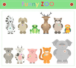 Animal Zoo, part two. Funny small plush animals. cartoon Vector