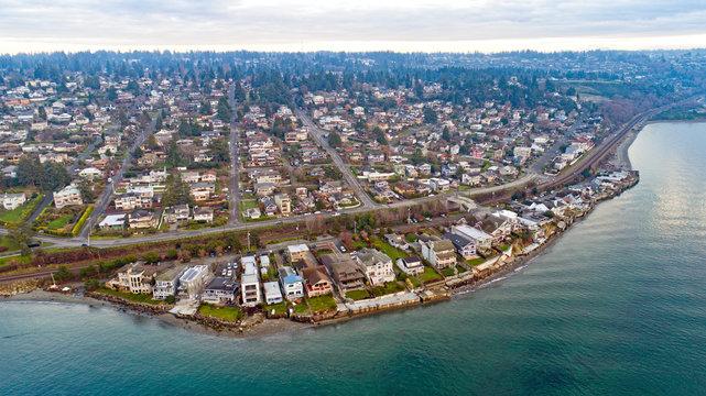 Richmond Beach Shoreline Washington Waterfront Housing Aerial View