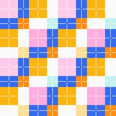 Squares seamless background, yellow, blue, vector. Pink and yellow squares and blue rectangles on a white background. Colorful, geometric background. For the decoration.
