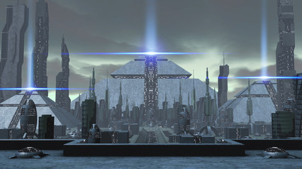 3D rendering of a futuristic ancient city