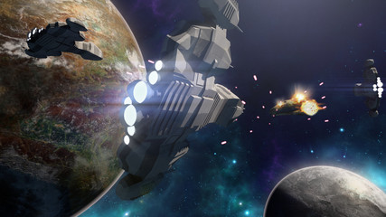 3D rendering of spaceship battle in a futuristic scene