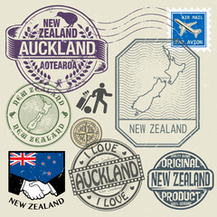 Grunge rubber stamp set with text and map of New Zealand