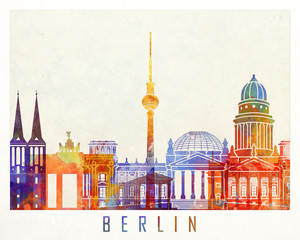 Wall Mural - Berlin landmarks watercolor poster