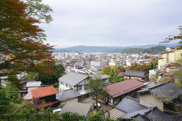 landscape of Takayama town from the top in Japan