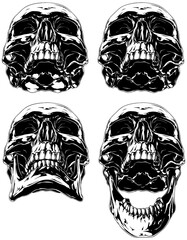 Black scary graphic human skull tattoo set
