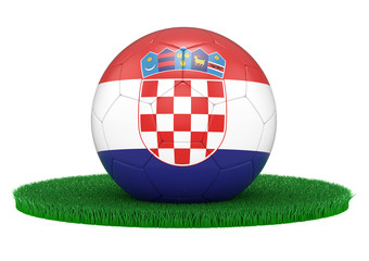 Soccerball, Football with Coratia flag on gras, 3D-Rendering