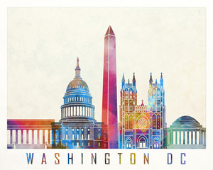 Wall Mural - Washington DC landmarks watercolor poster