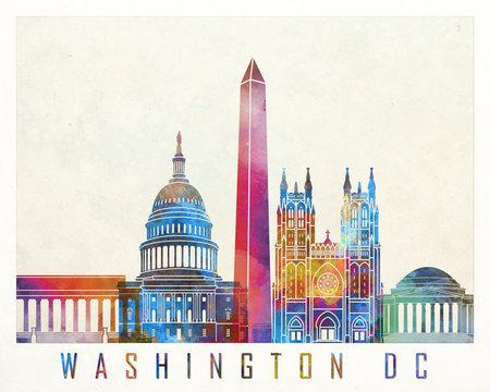 Washington DC landmarks watercolor poster