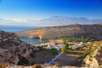 Top view of the bay on the island of Crete. Matala Caves. Famous attraction - the beach of Matala.