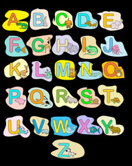 Alphabet baby animals ABC children color poster