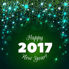 Happy New Year 2017 greeting card. Festive illustration with flare, glitter and snow on green background. Vector.