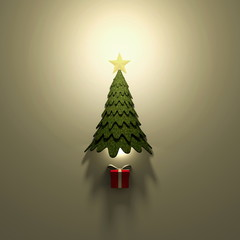 3d rendering illustration of illuminated green Christmas tree with red gift