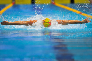 Swimming - Butterfly stroke : A young athlete is swimming in But
