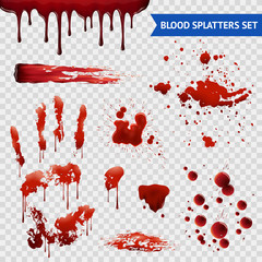 Blood Spatters Realistic Samples Transparent Set