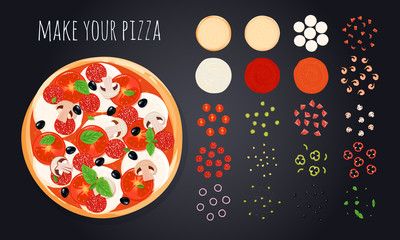 Make Pizza Ingredients Set