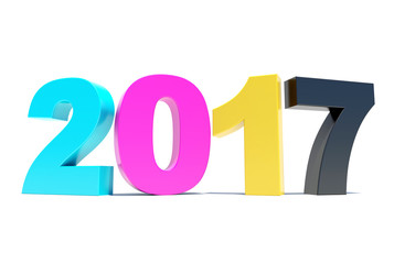 CMYK 2017 background - Happy New Year 3D rendering