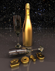 Happy new year / 3D render image representing New years eve with champagne