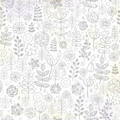 Hand drawn vector floral doodle pattern with branches, leaves, flowers.