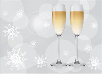 Two champagne glasses on silver background with snowflakes. Happy New Year and Merry Christmas celebration, vector illustration