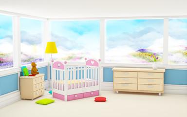 classic baby room panoramic window