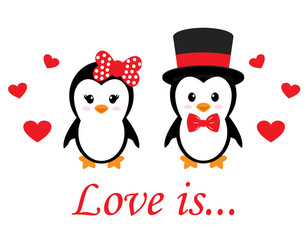 cute penguin set with heart vector and text