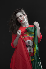 Beautiful woman with Flag of Spain.