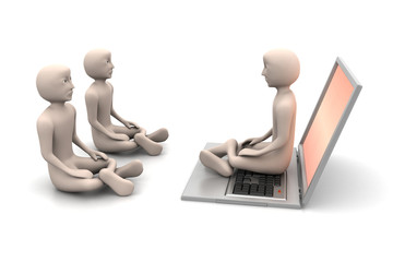 3d people in meditation with laptop