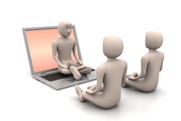 3d man in meditation with laptop