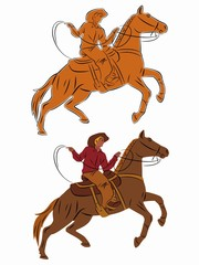 silhouette of a cowboy on horseback. vector drawing