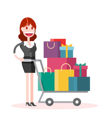 Flat Businesswoman Shopping on White Background. Isolated Flat Vector Illustration.