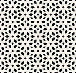 Abstract geometry black and white floral ornament deco art pattern