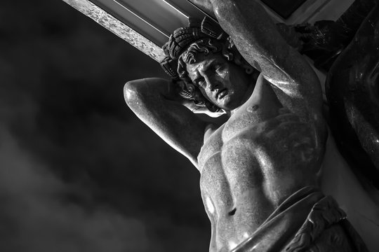 atlas statue at the entrance of the Hermitage in Saint Petersburg