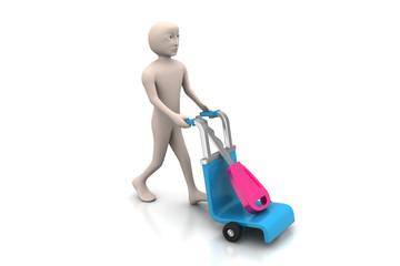 3d man carrying shopping cart with house key