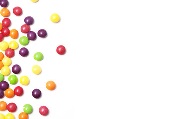 white background with colorful small rounded candies